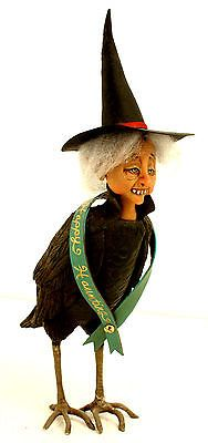 Halloween Witch Raven OOAK Polymer Clay Shiela Bentley Primdolly Hag in Collectibles, Holiday & Seasonal, Halloween Halloween Witch Decorations, Halloween Art, Vintage Halloween, Paper Clay Art, Raven, Folk Art, Fairy Tales, Polymer Clay, Vintage Style