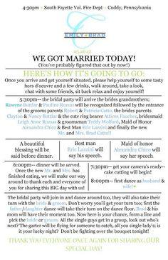 wedding reception program templates - Google Search   wedding do's ...