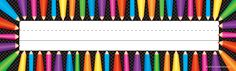 "Colored Pencils Name Plates (flat) - Use them to help teachers and substitute teachers learn students' names. Use them to label learning centers, storage areas, and portfolio collections. Laminate them for use as vocabulary flash cards or word bank labels. Extra long! 3-1/2"" x 11-1/2"" 36 per pack."