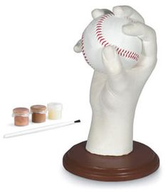 pitching hand cast kit - Cast your child's favorite pitch in plaster, and it's sure to be a cherished keepsake. This kit includes materials for making a mold, casting the hand and painting it, as well as a real baseball. It looks super-cool in a kid's room, and what proud grandparent wouldn't love to receive a cast as a gift? Ages 10 and up. Imported.
