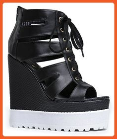 INTREPID Cage Lace Up Wedge Platform Heel Sandal - Sandals for women (*Amazon Partner-Link)