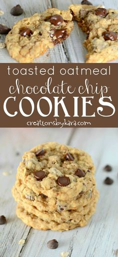 Toasted Oatmeal Chocolate Chip Cookies - toasting the oats make these the best oatmeal chocolate chip cookies! #oatmealcookies #chocolatechipcookies #oatmeal