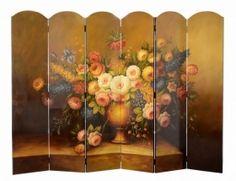 Sechsteilige Trennwand Paravent mit wunderschöner Blumenvase Sichtschutz Deko…