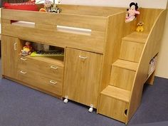 Oak Or White Childrens Mid Sleeper Beds - Midsleeper Cabin Bed Desk And Storage