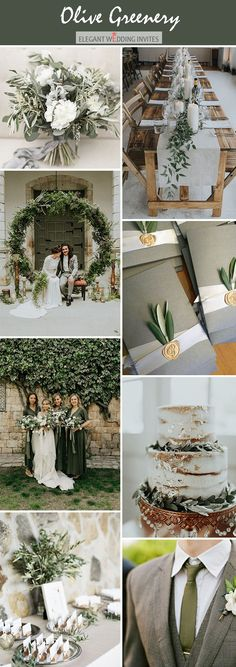 Olive green moody wedding color palete ideas