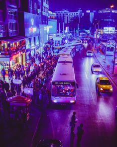A bus line in Ankara/Turkey Cyberpunk Aesthetic, City Aesthetic, Ankara, Dark City, World Cities, Turkey Travel, City Photography, Bus Stop, Future City