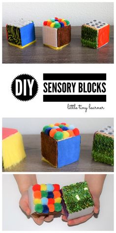 DIY Sensory Blocks – little tiny learner You are in the right place about Montessori Materials elementary Here we offer you the most beautiful pictures about the Montessori Materials fine motor you ar Sensory Toys For Autism, Baby Sensory Play, Sensory Games, Sensory Tools, Sensory Boards, Toddler Learning Activities, Infant Activities, Diy Sensory Toys For Babies, Sensory Wall