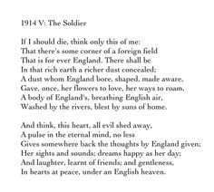 1914 V: The Soldier - Rupert Brooke Rupert Brooke, Battle Of The Somme, Remembrance Sunday, English Poets, Famous Poems, Beautiful Poetry, Writing Poetry, Poem Quotes, Great Words