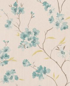 Enthrall (50-031) - Graham and Brown Wallpapers - A floral design inspired by oriental cherry blossom, with tonal watercolour effects, against a lightly striped base.  Shown in the teal blue. In 6 colours – co-ordinating plains also available. Please request a sample for true colour match.