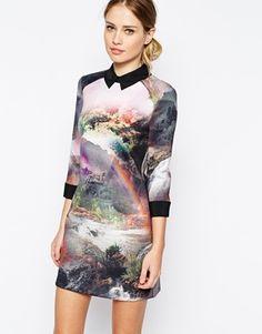 Enlarge Ted Baker Scuba Shirt Dress in Rainbow Waterfall Print