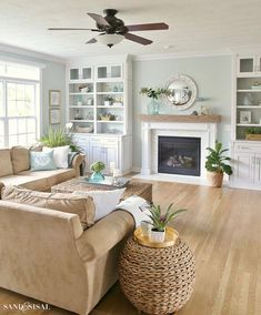 Coastal Familyroom and Fireplace Makeover. Coastal Family Room and Fireplace Makeover Home Living Room, Farm House Living Room, Room Design, Living Room Color, Coastal Living Room, Home Decor, Coastal Living Rooms, Fireplace Makeover, Living Decor
