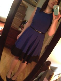 Capitola Fit & Flare Dress in blue from Stitch Fix - 41Hawthorn (I added a belt)
