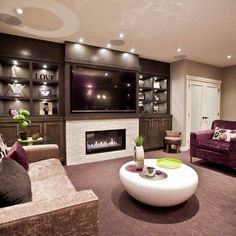 Basement tv above fireplace Design Ideas, Pictures, Remodel and Decor Basement Decor, House Design, Family Room Design, Basement Fireplace, Home, House, Room Design, Basement Design, Fireplace Design