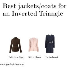 """Best jackets/coats for an Inverted Triangle""  The Inverted Triangle Woman angelabsimmons.com inverted triangle body beauty!"