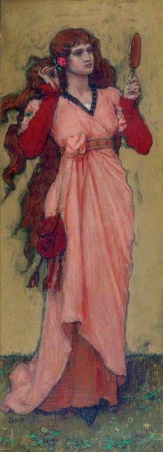 "George Henry Boughton ""A Girl Holding a Mirror and a Rose"""
