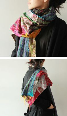 Japanese Embroidery Sashiko Kapital - beautiful coloured scarf, and the hand-stitched lines in contrasting thread are gorgeous ~t~ Sashiko Embroidery, Japanese Embroidery, Embroidery Patterns, Textiles, Bohemian Mode, Boho Chic, Boho Style, Boro Stitching, Refashioning