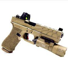 Tricked out Glock. Custom Glock, Custom Guns, Revolver, Glock Mods, Gun Vault, Shooting Guns, Military Guns, Airsoft Guns, Guns And Ammo