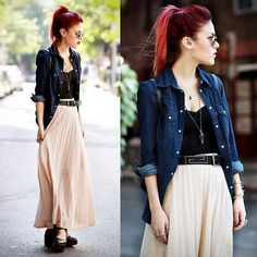 Luanna Perez.maxi skirt, denim jacket for a edgy but feminine outfit