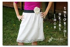 Sugar Bee Crafts: sewing, recipes, crafts, photo tips, and more!: Lace Skirt Tutorial--- cute and easy to make