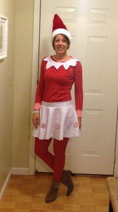 Super easy Elf on the Shelf costume. Red shirt & leggings, Santa ...