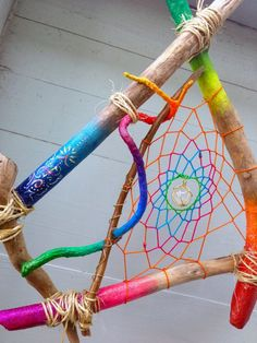 Cosmic Tribal Rainbow Driftwood Dreamcatcher - Star Child Decor -Colorful Painted Curly Branch w Quartz Crystal, Peacock and Turkey Feathers Nature Crafts, Fun Crafts, Stick Crafts, Playroom Decor, Kids Decor, Twig Art, Planting For Kids, Ombre Paint, Dream Catcher Craft