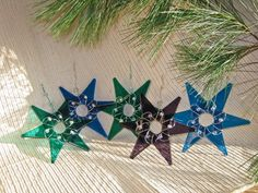 fused glass christmas ornaments | of these glass stars is created with 6 individually hand cut glass ...