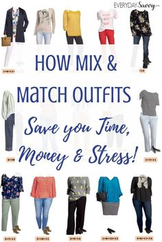 Learn how to make mix & match cute simple outfits that will save you time money and stress. Includes a guide on how to make your own mini capsule wardrobe. via @everydaysavvy