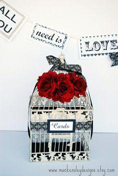 LARGE Bird Cage Wedding Card Holder -  Red, Black & Ivory Damask. by MackensleyDesigns, via Flickr