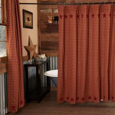 The Burgundy Star Shower Curtain features a delicate burgundy and tan check pattern with 5 Point stars appliqued along the scalloped edges in solid burgundy. Features PREMIUM CONSTRUCTION: with over two decades experience crafting goods for American homes, our items are built to last for years to come. PRIMITIVE DECOR: traditional style that compliments any primitive or Americana home. QUALITY MATERIAL: made with durable 100% cotton for a proper look and feel. Burgundy and tan check base… Western Decor, Country Decor, Country Style Curtains, Shower Curtain Rods, Shower Curtains, Primitive Homes, Primitive Decor, Country Primitive, Fox Decor