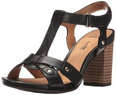 Clarks Women's Banoy Valtina Dress Sandal, Black Leather, 9 M US: Dress up or down in the banoy valtina t-strap sandal. made of beautfiul leathers, this city sandal keeps you comfortable atop a block heel T Strap Sandals, Dress Sandals, Women's Shoes Sandals, Wedge Sandals, Heeled Sandals, Black Sandals, Leather Sandals, Block Heel Shoes, Things To Buy