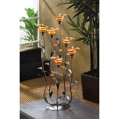 LARGE grand Botanical lily Candelabra floral art metal tea-light sculpture Candle holder centerpiece