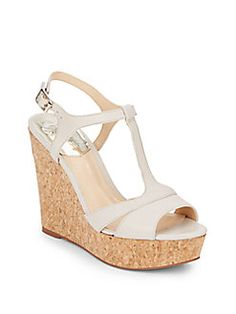 Vince Camuto - Leather & Cork T-Strap Wedge Sandals Beach Wedding Shoes, T Strap, Vince Camuto, Wedge Sandals, Cork, Me Too Shoes, Shoe Boots, Wedges, Purses