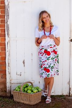 that bird label Adele A-Line Skirt Red Apple Blossom Print - Womens Knee Length Skirts - Birdsnest Online Fashion Store