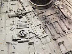 "https://flic.kr/p/dQtiTq | Millennium Falcon vintage model used in filming: 160505 | A close-up of the actual vintage Millennium Falcon model used in the filming of ""Star Wars Episode IV: A New Hope."" It's a giant 4-foot diameter model. The detail is incredible. I had the honor of seeing this model in person at the Orlando Science Museum. I took a ton of photos with my iPhone, capturing all the details of the cockpit, and various motors, levers, radars, guns, exhaust systems, gun m..."