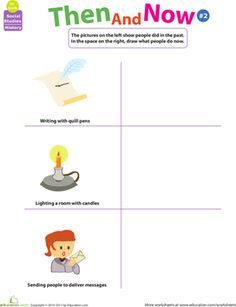 First Grade History Worksheets: Thinking Past and Present: Then and Now #2