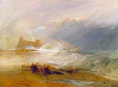 Title: Wreckers, Coast of Northumberland with a Steam-Boat Assisting a Ship off Shore, undated  Artist: Joseph Mallord William Turner  Location: Yale Center for British Art Connecticut USA