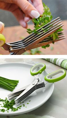 Herb scissors - cuts herbs five times quicker! Brilliant kitchen cooking gadget! Need! #product_design