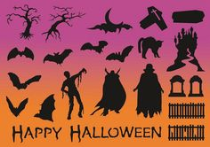 Halloween Silhouettes Vector File SVG.  via Etsy.