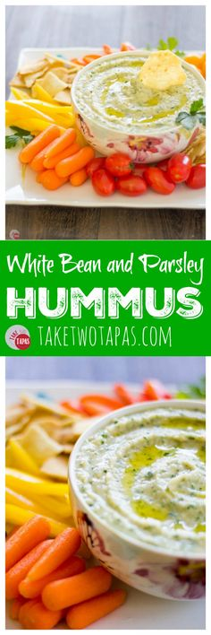 Want to make some hummus but out of chickpeas? Check out this recipe for White Bean Hummus with Parsley. No need for Tahini, just 5 minutes and a few ingredients will have you snacking like a pro but with a twist! White Bean and Parsley Hummus Recipe   Take Two Tapas