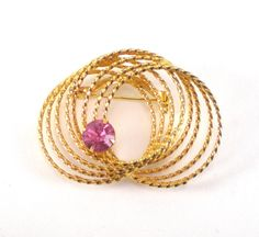 Gold Wreath Pink Rhinestone Brooch Pin  Vintage by paleorama