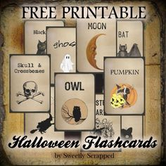 Free printable Halloween Flash Cards by Sweetly Scrapped ...Today I have some free printable Halloween Flash Cards.... They of course are vintage inspired... Download the zip file by clicking HERE