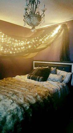 Light curtain; elegant goth bedroom ideas; dark romantic; gothic romance; purple fury walls with silver paint crystals valspar