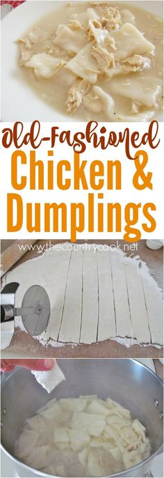 Old-fashioned chicken and dumplings Old-Fashioned Chicken and Dumplings is a super simple recipe. Flat and yummy strips of dough simmered in a yummy broth and tender chicken. - Old-Fashioned Chicken & Dumplings recipe from The Country Cook Chicken And Dumplins, New Recipes, Favorite Recipes, Easy Recipes, Entree Recipes, Dinner Recipes, Do It Yourself Food, Frijoles, Southern Recipes