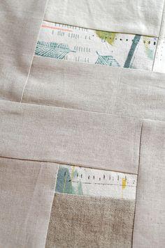 Leslie Keating - dropcloth + linen quilt wip