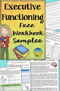 The free resource includes a sample of my Executive Functioning Advanced Workbook with an executive functioning quiz, information on executive functioning, daily checklists, estimating time for tasks, and behaviors aligned with paying attention.