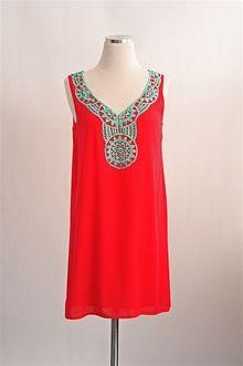 Summer Sundial Dress - Coral