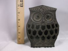Vintage Cast Iron Brown Forest Owl Japan Covered by retroricks