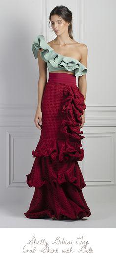 M'O Exclusive Crab Ruffle Skirt by Johanna Ortiz Love Fashion, Runway Fashion, High Fashion, Luxury Fashion, Fashion Show, Trendy Fashion, Ruffle Skirt, Ruffles, Mode Inspiration