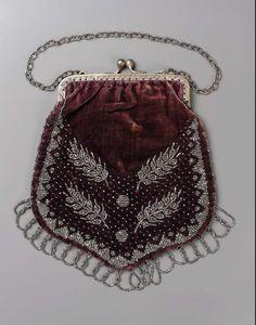Purple velvet bag (American, 19th century).