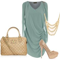 Love this color of blue the purse is a bit much though..